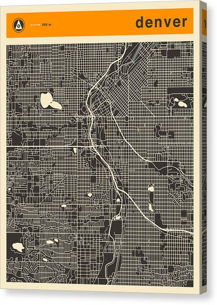 Denver Canvas Print - Denver Map by Jazzberry Blue