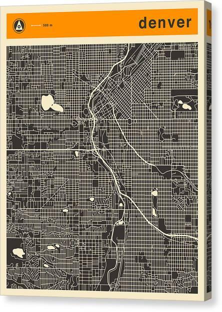 Art Deco Canvas Print - Denver Map by Jazzberry Blue