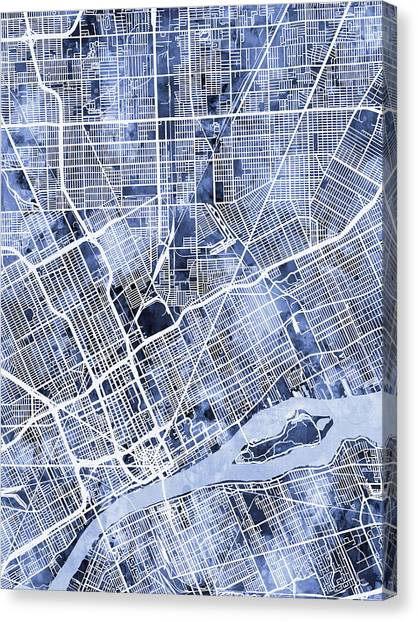 Canvas Print - Detroit Michigan City Map by Michael Tompsett