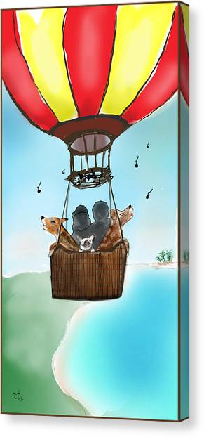 3 Dogs Singing In A Hot Air Balloon Canvas Print