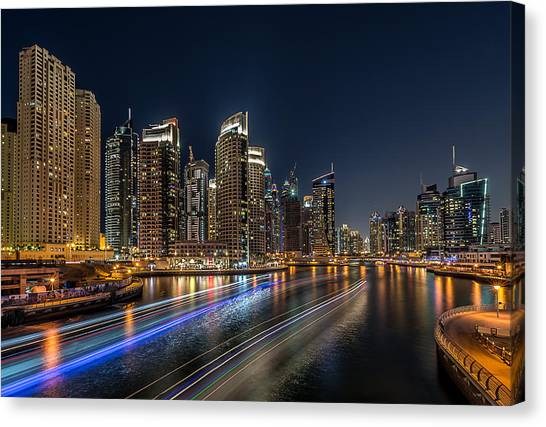 Dubai Skyline Canvas Print - Dubai Marina by Vinaya Mohan