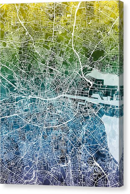 Ireland Canvas Print - Dublin Ireland City Map by Michael Tompsett