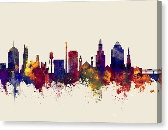 Duke University Canvas Print - Durham North Carolina Skyline by Michael Tompsett