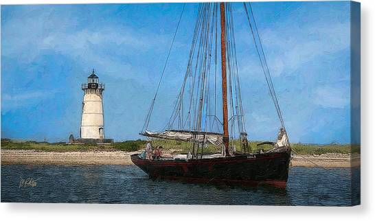 Marthas Vineyard Canvas Print - Edgartown Light by Michael Petrizzo