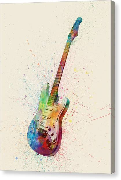 Electric Guitars Canvas Print - Electric Guitar Abstract Watercolor by Michael Tompsett