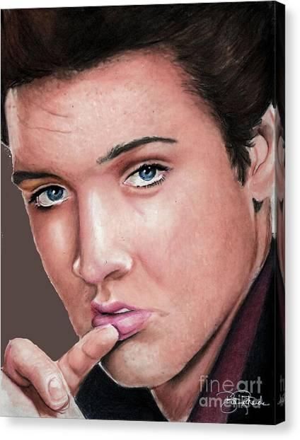 Prisma Colored Pencil Canvas Print - Elvis by Bill Richards