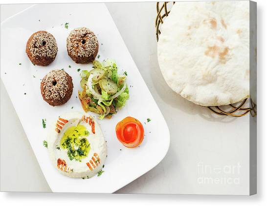 Falafel Hummus Houmus Starter Snack Food Mezze Platter Canvas Print