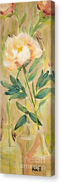 Canvas Print featuring the painting 3 Flowers by Maria Langgle