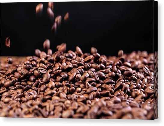 Turkish Canvas Print - Fresh Roasted Coffe Beans by Nailia Schwarz