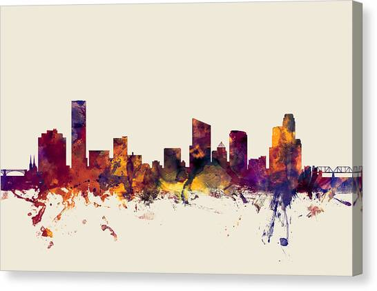 Rapid Canvas Print - Grand Rapids Michigan Skyline by Michael Tompsett