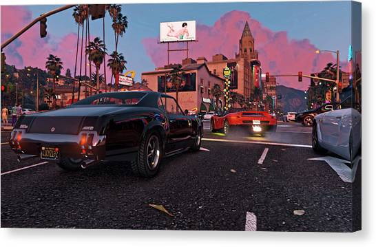 Grand Theft Auto Canvas Print - Grand Theft Auto V by Maye Loeser