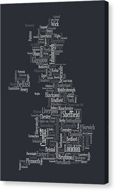 United Kingdom Canvas Print - Great Britain Uk City Text Map by Michael Tompsett
