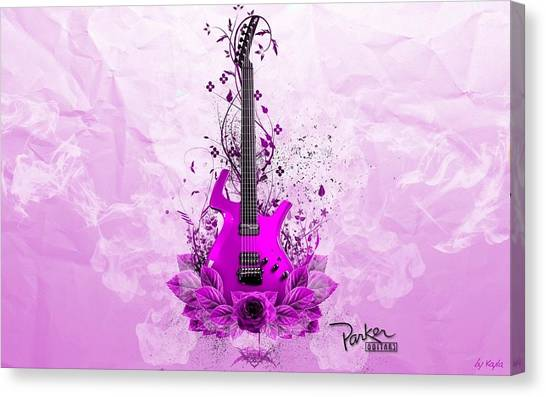 Bass Guitars Canvas Print - Guitar by Maye Loeser