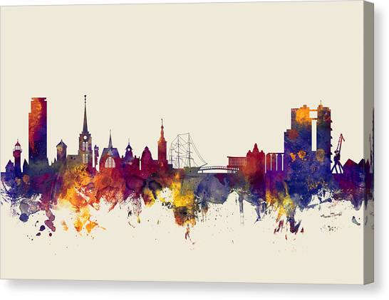 Swedish Canvas Print - Halmstad Sweden Skyline by Michael Tompsett