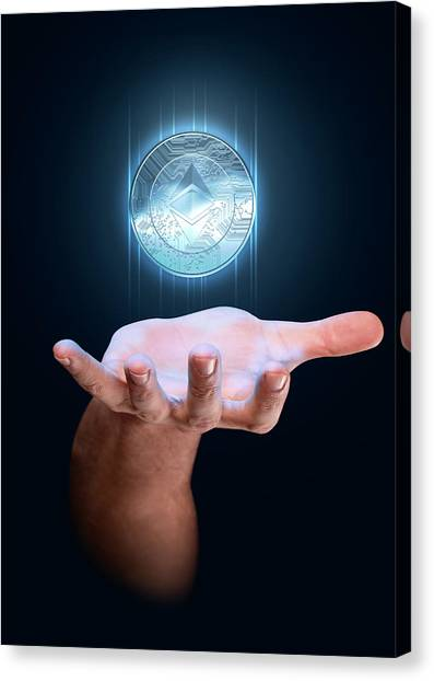 Etc Canvas Print - Hand With Cryptocurrency Hologram by Allan Swart