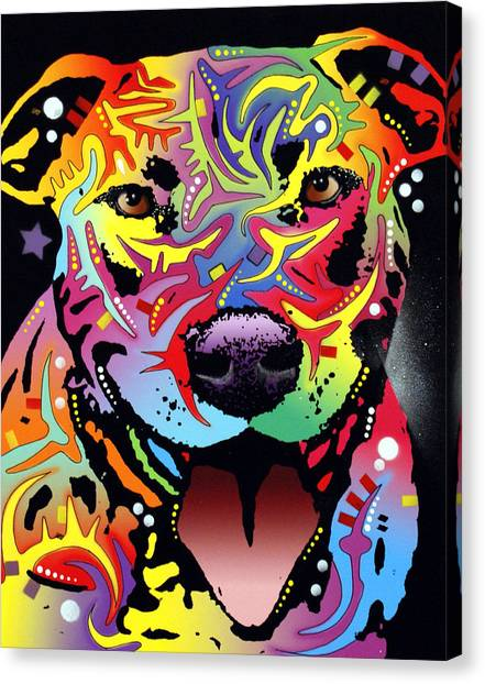Pit Bull Canvas Print - Happy Bull by Dean Russo Art