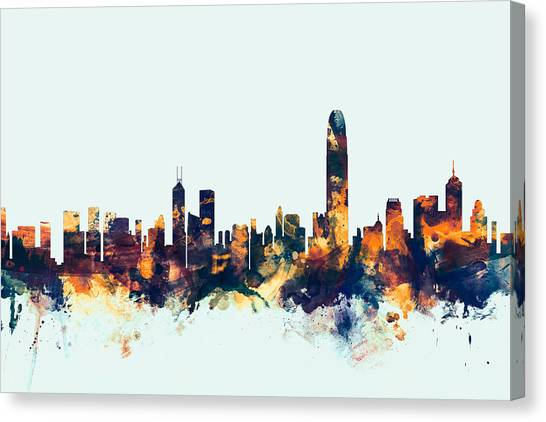 Watercolour Canvas Print - Hong Kong Skyline by Michael Tompsett