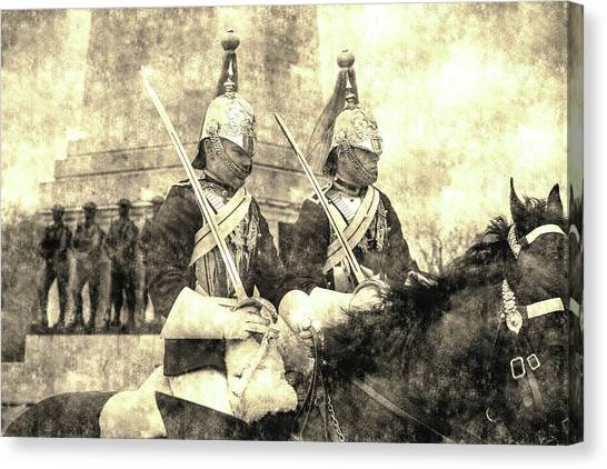 Household Cavalry Changing Of The Guard Vintage Canvas Print