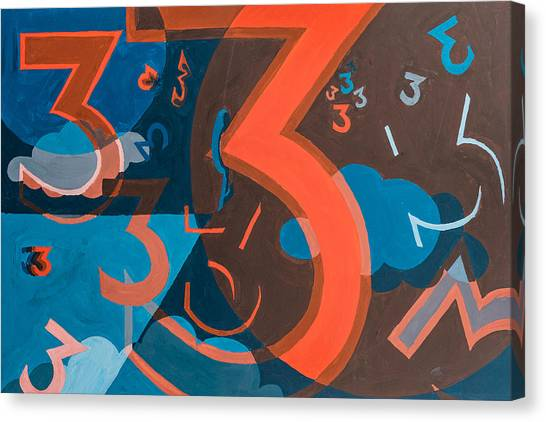 Canvas Print featuring the painting 3 In Blue And Orange by Break The Silhouette