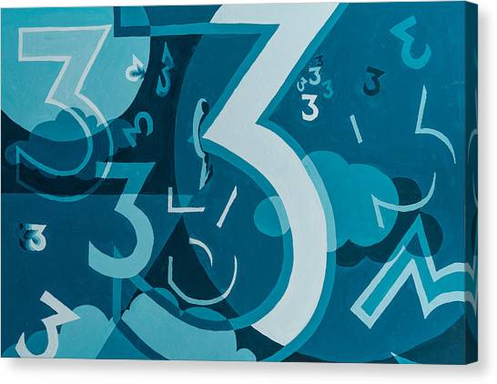 Canvas Print featuring the painting 3 In Blue by Break The Silhouette