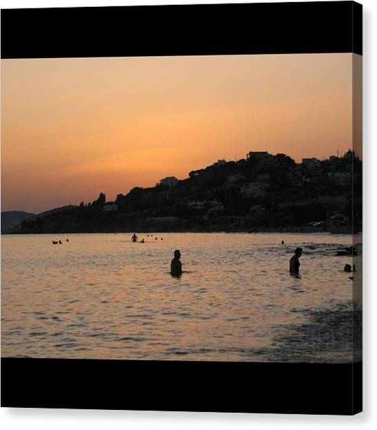 Greece Canvas Print - Greek Sunset And Silhouettes by Jason Freedman
