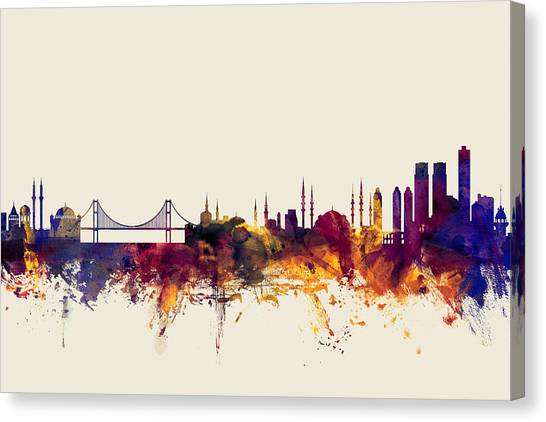 Turkeys Canvas Print - Istanbul Turkey Skyline by Michael Tompsett
