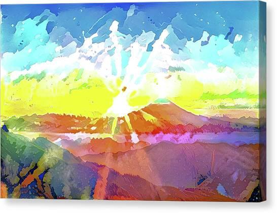 Mount Fuji Canvas Print - Japanese Colorful Mt. Fuji Modern Interior Art Painting. by ArtMarketJapan
