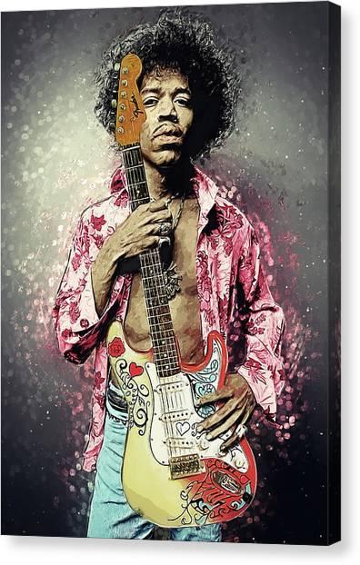 Janis Joplin Canvas Print - Jimi Hendrix by Taylan Apukovska