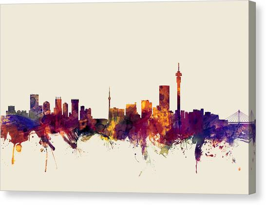 South Africa Canvas Print - Johannesburg South Africa Skyline by Michael Tompsett