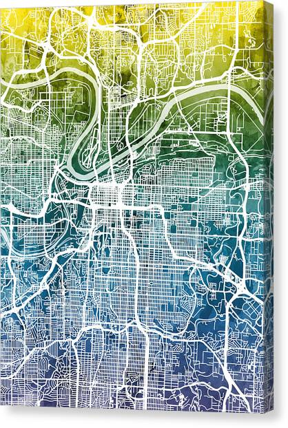 Missouri Canvas Print - Kansas City Missouri City Map by Michael Tompsett