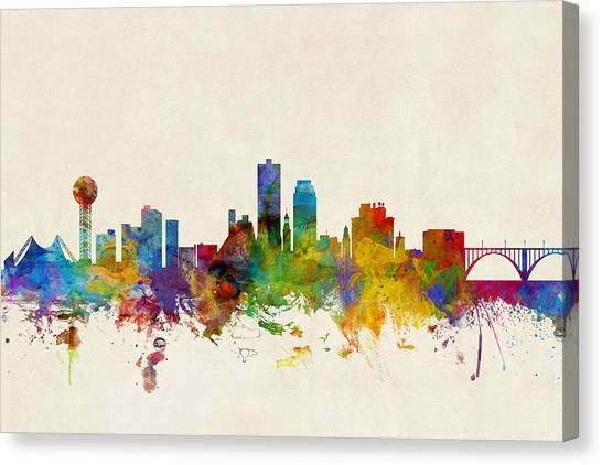 Tennessee Canvas Print - Knoxville Tennessee Skyline by Michael Tompsett