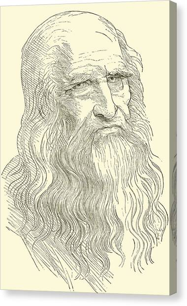 Long Hair Canvas Print - Leonardo Da Vinci by English School