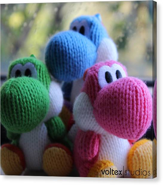 Wii Canvas Print - 3 Little Yoshis by Voltex Studios