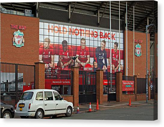 British Premier League Canvas Print - Liverpool Uk January 8th 2016. The Kop Entrance To Liverpool Foo by Ken Biggs