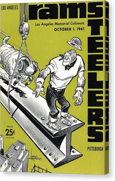 Los Angeles Rams Canvas Print - Los Angeles Rams Vintage Program by Joe Hamilton