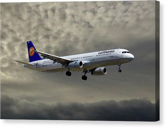 Jet Canvas Print - Lufthansa Airbus A321-131 by Smart Aviation