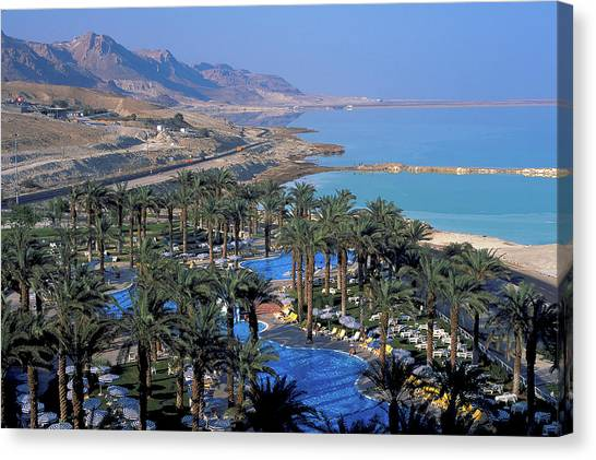 Luxury Resort On The Dead Sea Canvas Print by Carl Purcell