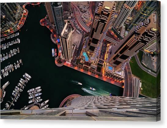 Majestic Colorful Dubai Marina Skyline During Night. Dubai Marina, United Arab Emirates. Canvas Print