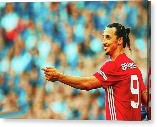 Zlatan Ibrahimovic Canvas Print - Manchester United's Zlatan Ibrahimovic Celebrates by Don Kuing