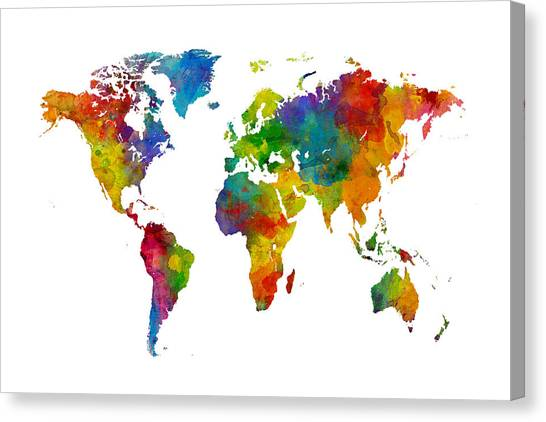 Planet Canvas Print - Map Of The World Map Watercolor by Michael Tompsett
