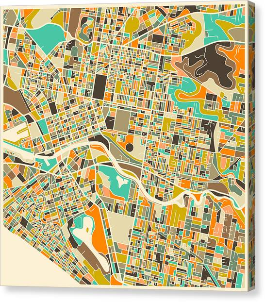 Australian Canvas Print - Melbourne Map by Jazzberry Blue