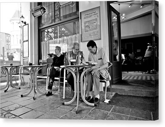 3 Men Brussels 2009 Canvas Print by Mark Chevalier
