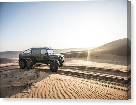 Mercedes G63 6x6 In Oman Desert Canvas Print