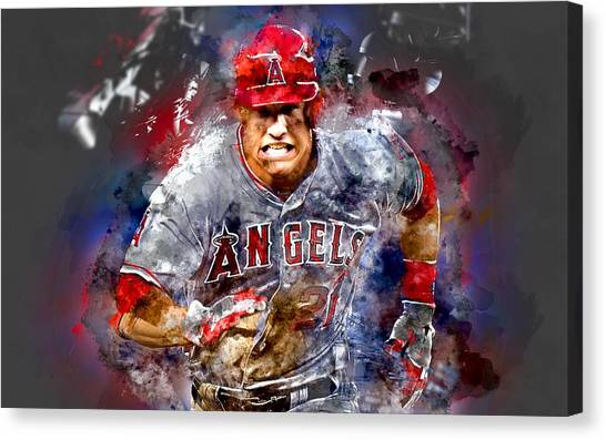 Los Angeles Angels Canvas Print - Mike Trout by Marvin Blaine