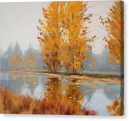Aspen Forest Canvas Print - Misty Lake by Graham Gercken