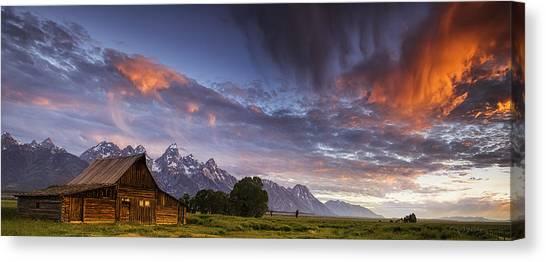 Teton National Park Canvas Print - Mountain Barn In The Tetons by Andrew Soundarajan