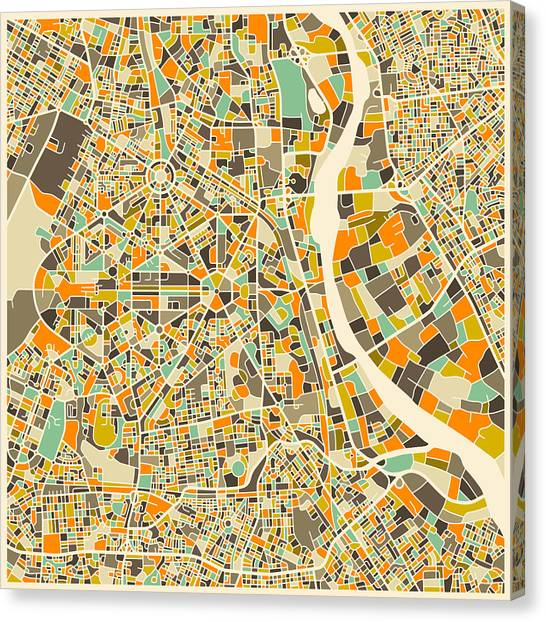 Canadian Artists Canvas Print - New Delhi Map by Jazzberry Blue