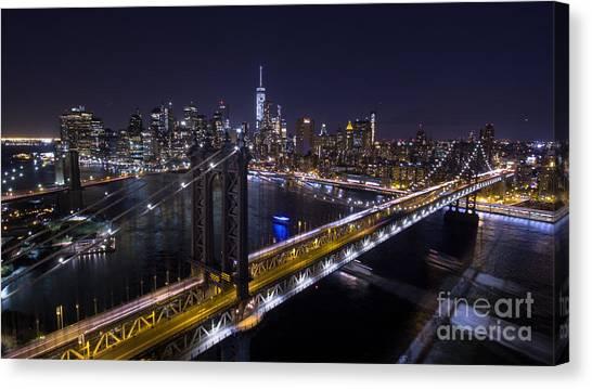 New York City, Manhattan Bridge At Night Canvas Print