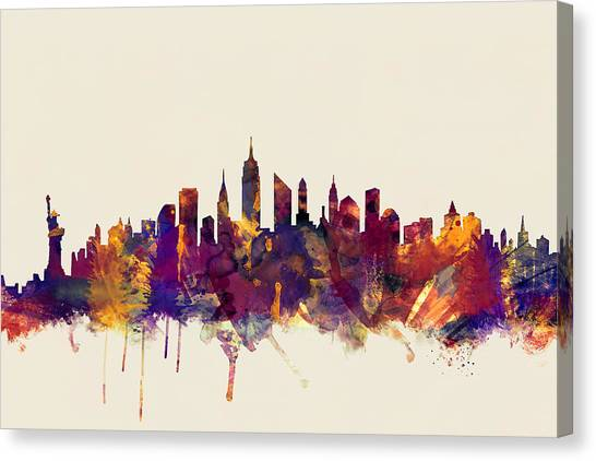 New York Skyline Canvas Print - New York City Skyline by Michael Tompsett