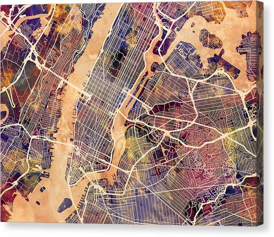 New York Skyline Canvas Print - New York City Street Map by Michael Tompsett